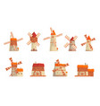 rural windmills set collection traditional vector image vector image