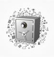 safe 3d lock protection technology many icons vector image
