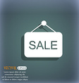 Sale icon On the blue-green abstract background vector image