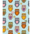 Seamless Pattern with Sleepy Color Owls on a Sunny vector image