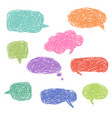 set blank colorful hand drawn speech bubbles vector image