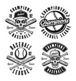 set four baseball black vintage emblems vector image vector image