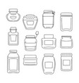 set of 12 different jar made in line style vector image vector image