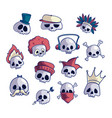 set of cartoon skull characters vector image
