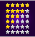 set shiny star ratings for mobile games vector image vector image