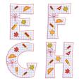sheet alphabet Letter E F G H vector image