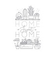 shelf with flowers home sweet home vector image vector image