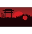 Silhouette of bridge scenery Chinese vector image vector image