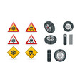 snow chains on tire slippery road traffic signs vector image vector image