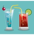 two cocktail glass with fruit design vector image