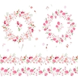 Two floral round garlands and endless pattern vector image vector image