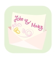 Wedding invitation cartoon icon vector image