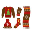 winter warm clothes icon set flat style vector image vector image