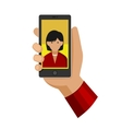 Woman Making Selfie Photo on Phone Flat Icon vector image vector image