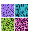 set of seamless animal bright color patterns vector image