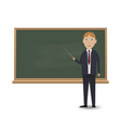 young teacher standing in front of blackboard vector image