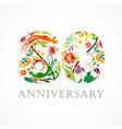 80 anniversary folk logo vector image vector image