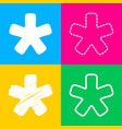 asterisk star sign four styles of icon on four vector image