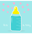 Baby boy bottle Hearts Shower card vector image vector image
