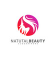 beauty woman face with hair logo design template vector image