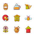 beekeeping tools icons set flat style vector image vector image