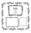 Black and white floral elements and frames set vector image vector image