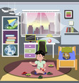 boy in his bedroom vector image