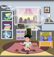 boy in his bedroom vector image vector image