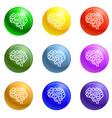 brain organ icons set vector image vector image