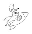 businesswoman flying in rocket with bitcoin symbol vector image vector image