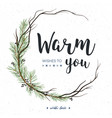 christmas greeting card with pine tree greenery vector image