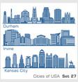 cities usa - durham irvine kansas city vector image vector image