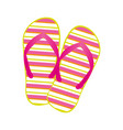 colorful silhouette of beach flip-flops vector image vector image