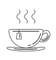cup with tea bag line icon vector image