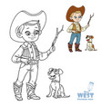 cute boy in cowboy costume play with dog coloring vector image