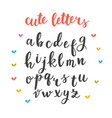 cute letters hand drawn calligraphic font vector image vector image