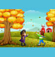 cute two kids playing with autumn leaves vector image vector image