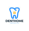 dental logo design template with flat line tooth vector image vector image