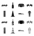Design of car and rally icon collection of