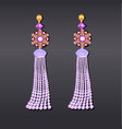 earrings from beads of pearl lilac gems and gold vector image vector image