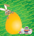 Easter bunny with Big egg on a green background vector image vector image