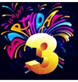 Fireworks Happy Birthday with a gold number 3 vector image