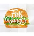 Fish burger watercolor vector image vector image