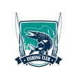 Fishing club heraldic symbol with pike fish vector image