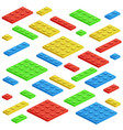 isometric building block toy kids bricks vector image