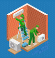 isometric interior repairs concept system of air vector image