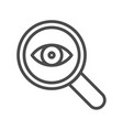 magnifier with eye outline icon linear style sign vector image