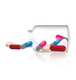 mix medicine pill and vitamin with glass jar vector image