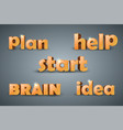 plan help start brain idea - infographic word vector image