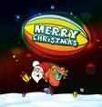 santa claus in airship full gifts vector image